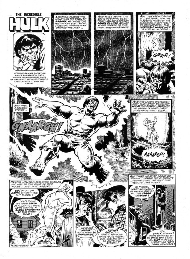 The opening page from the first Hulk Comic Hulk strip, drawn by Dave Gibbons. Art © Marvel