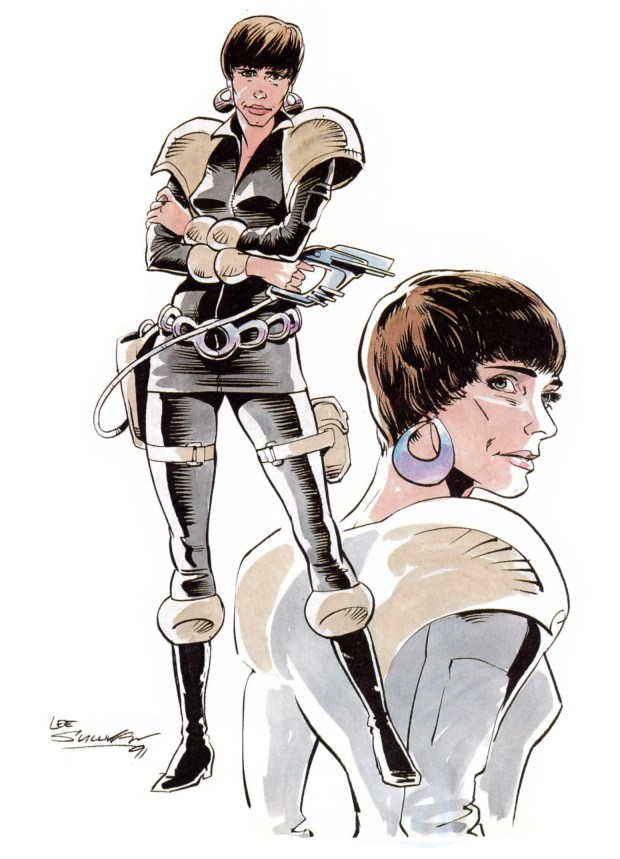 One of Lee Sullivan's original designs for Paul Cornell's Bernice Summerfield, who first appeared in the New Adventures and Doctor Who Magazine as a companion for the Seventh Doctor.