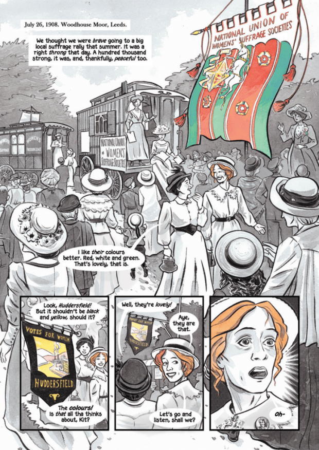 A sample page from Sally Heathcote, Suffragette.