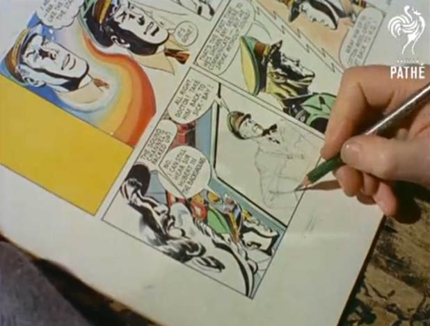 Frank Hampson at work on a panel of Dan Dare created just for the film Image: British Pathe