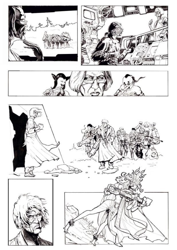 A page from an unpublished Warheads story commissioned for Overkill, written by Nick Vince, drawn by Smuzz,
