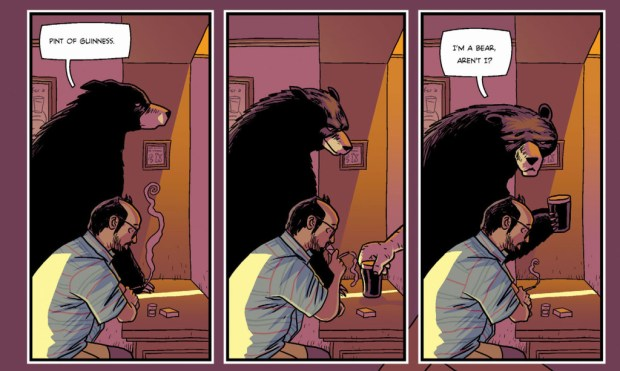 Michael Fisher has an unusual encounter in a bar in Oridnary #1 by Rob Williams & D'Israeil, from Titan Comics.