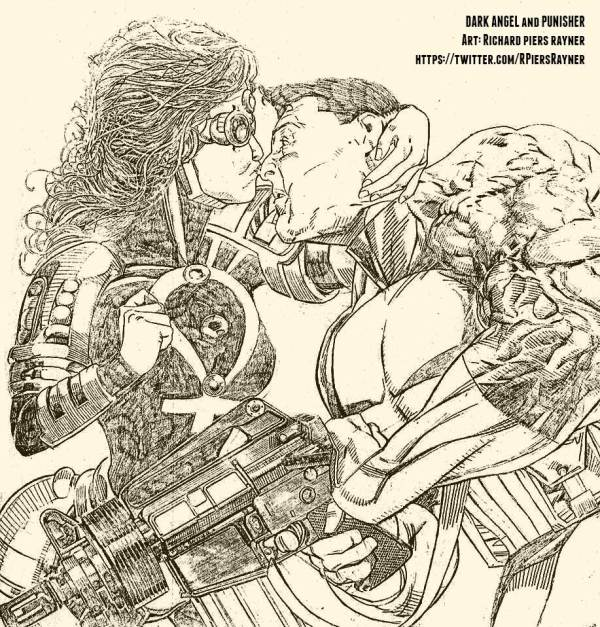 "A previously-unpublished artwork by Richard Piers Rayner featuring Marvel UK's ""Dark Angel"" and The Punisher."
