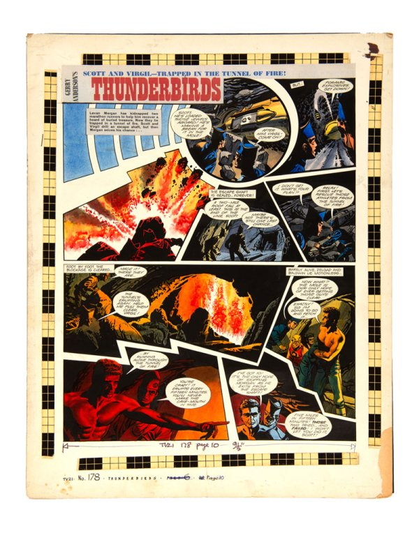 A page of Thunderbirds art from TV Century 21, by Frank Bellamy