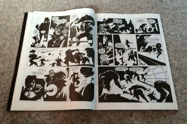 Pages from 'Concrete Sky' a Judge Karyn story for Judge Dedd Megazine first published in the 1990s, written by John Freeman,  art by Adrian Salmon, lettering by Gordon Robson