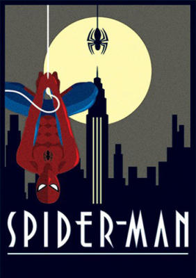 Pyramid Art Deco Spider-Man print