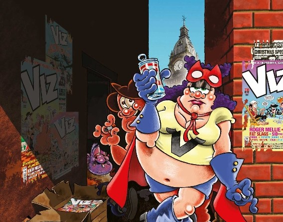 The ever-irreverent VIZ team are promoting their Lakes Festival exhibition plans with this satirical take on the British Library's recent Comics UnMasked poster by Jamie Hewlett. Image: Graham Dury/ Simon Thorp