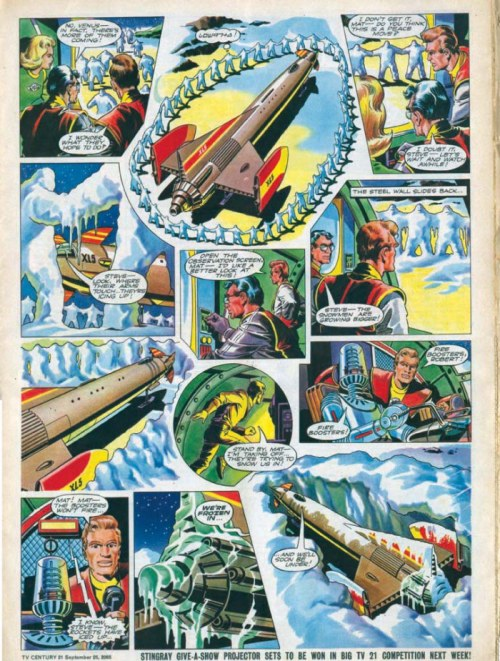 "An episode of ""Fireball XL5"" for TV 21, drawn by Mike Noble - one of the creepiest stories in the comic ever, as alien snowmen take over humans, turning them into ice-like zombies at the beck and call of their leader."
