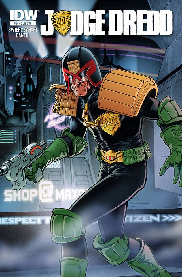 Here's the cracking subscription variant cover to Judge Dredd #24 by British artist John Charles