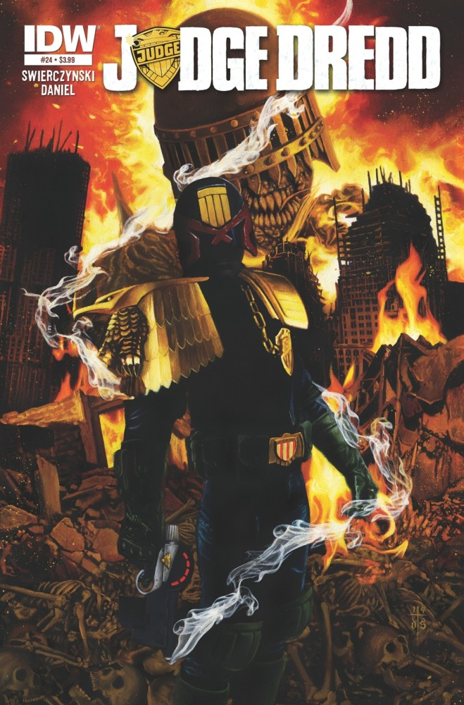 The regular cover to Judge Dredd #24 from IDW