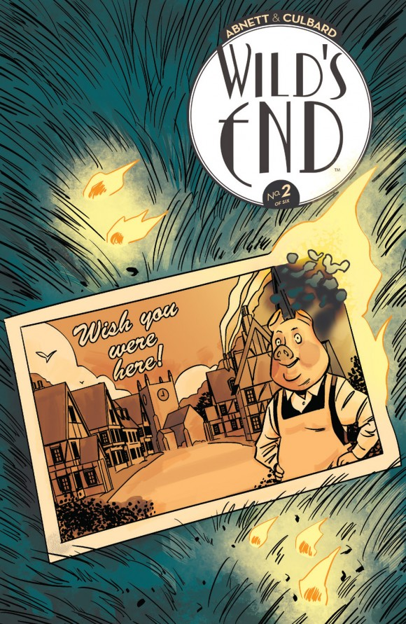 In Wilds End #2, the search for the cause of a devastating fire that has left Crowchurch in mourning leads Clive and the others deep into the forest where they meet a new ally combating an alien threat at her door.