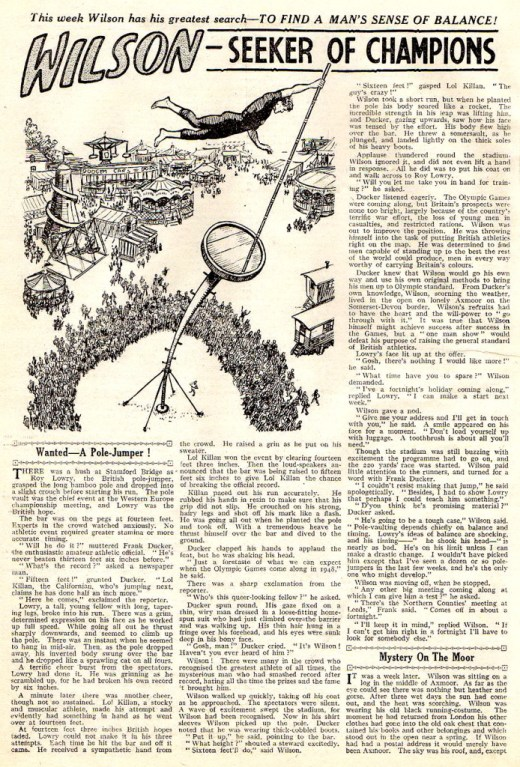 """A page from a """"Wilson the Wonder Athlete"""" text story. """"Seeker of Champions"""", published in 1946."""