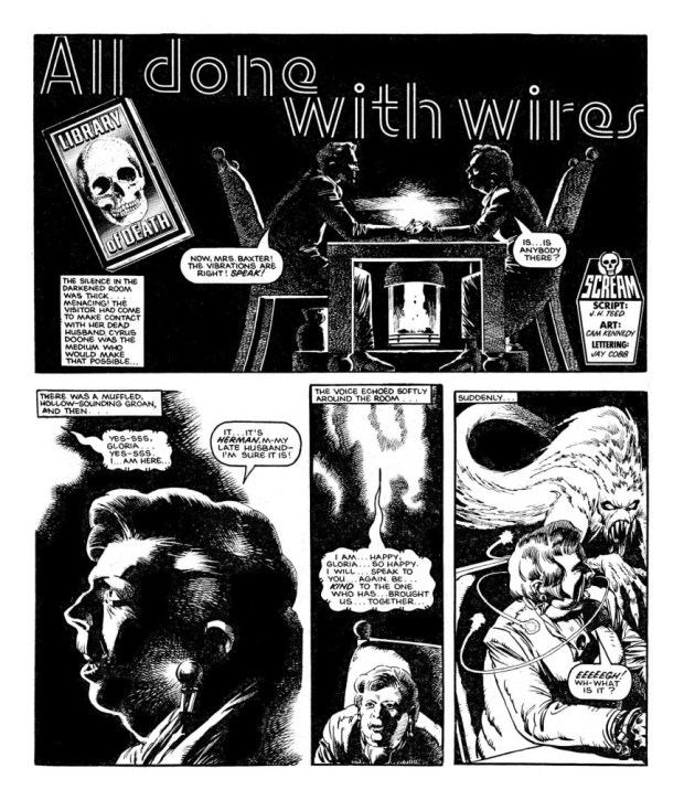 """""""All Done with Wires"""" written by J.H. ted, drawn by Cam Kennedy."""
