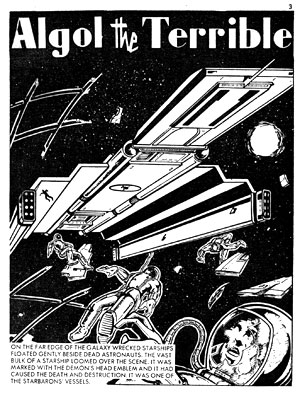 """The opening page from """"Algol the Terrible"""", a Grant Morrison-penned story for Starblazer Issue 15"""
