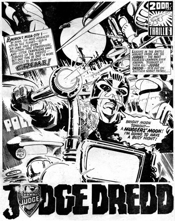 The opening page of Judge Dredd from 2000AD Prog 19, drawn by John Cooper. Judge Dredd © Rebellion