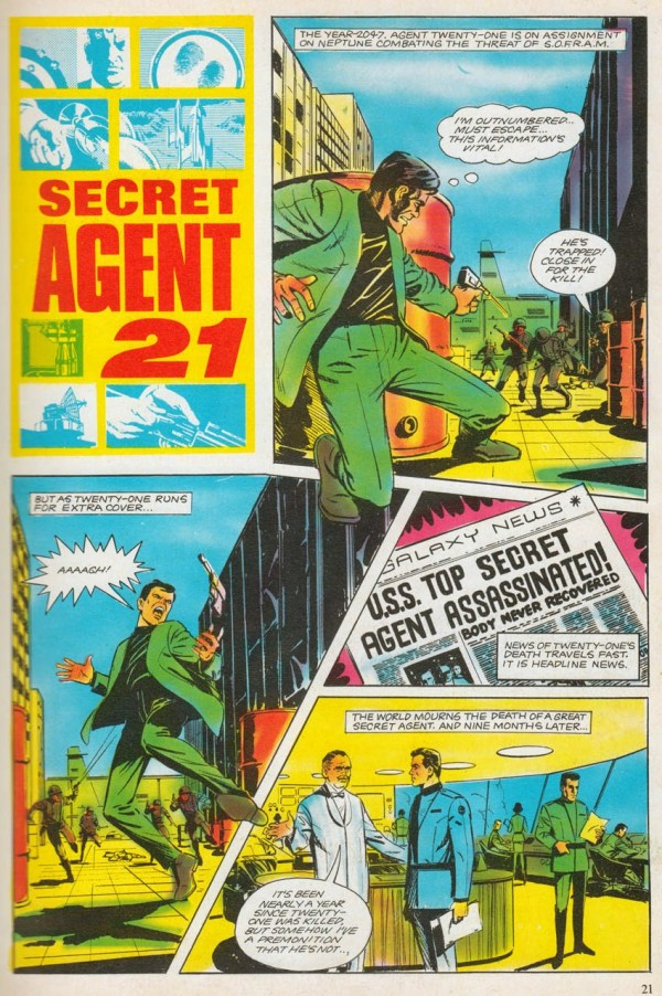 "John Cooper's first comic strip work, a Secret Agent 21 story for the 19968 annual, which had the working title ""Mission Impossible"", not featured in the published story. Secret Agent 21 © Anderson Entertainment"