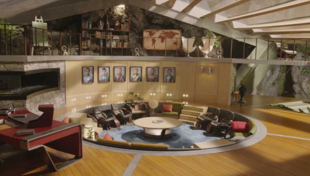 A closer shot of the lounge displaying all five Tracy brothers and, presumably, Kayo (voiced by Angel Coulby) the character who seems to have replaced TinTin in the new show.