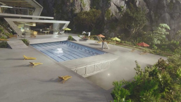 The swimming pool begins to retract, in preparation for the launch of Thunderbird One.