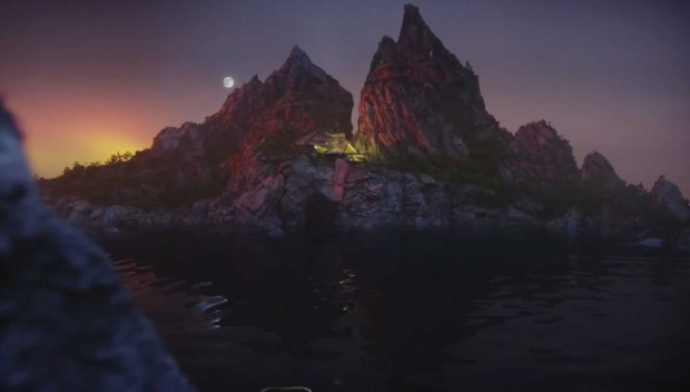 A beautiful night time shot of Tracy Island from Thunderbirds Are Go.