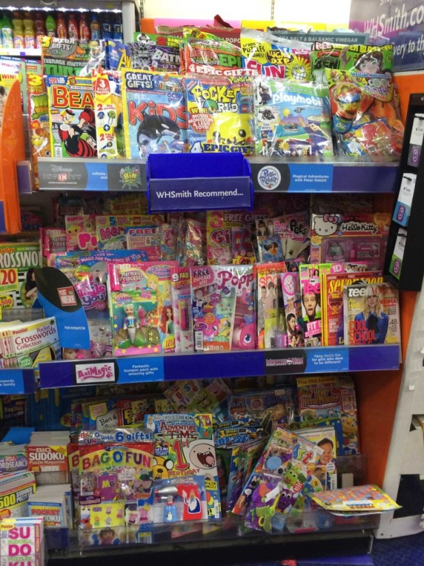 WH Smiths children's magazines rack, August 2014. Adventure comics such as 2000AD and Commando are racked in a separate section of this store.