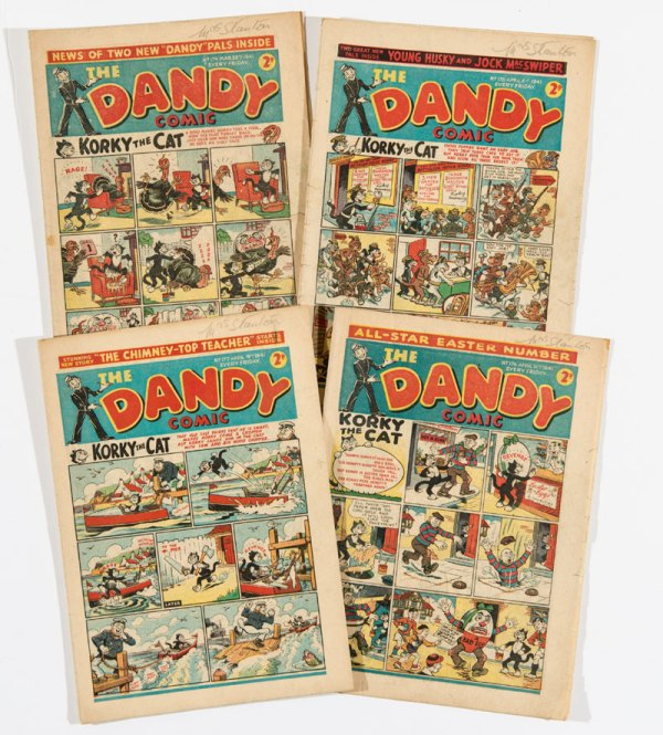 Dandy (1940) 174-177 including April Fool and Easter numbers. Propaganda war issues, with Hair-Oil Hal capturing Hitler!