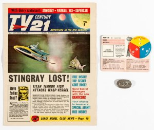 TV Century 21 No 1 (1965) with free gift Special Agent Identicode decoder and free gift from No 2 - and Special Agent Badge.