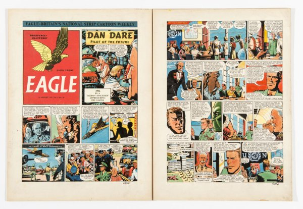 Dan Dare original two page artwork by Frank Hampson for The Eagle Vol 2 No 20 (1951), which is expected to sell fro at least £1200.