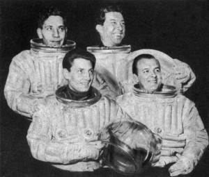 "Pressure suits from the Royal Aircraft Establishment at Farnborough were used for publicity purposes to promote Charles Chilton's ""Journey into Space"""