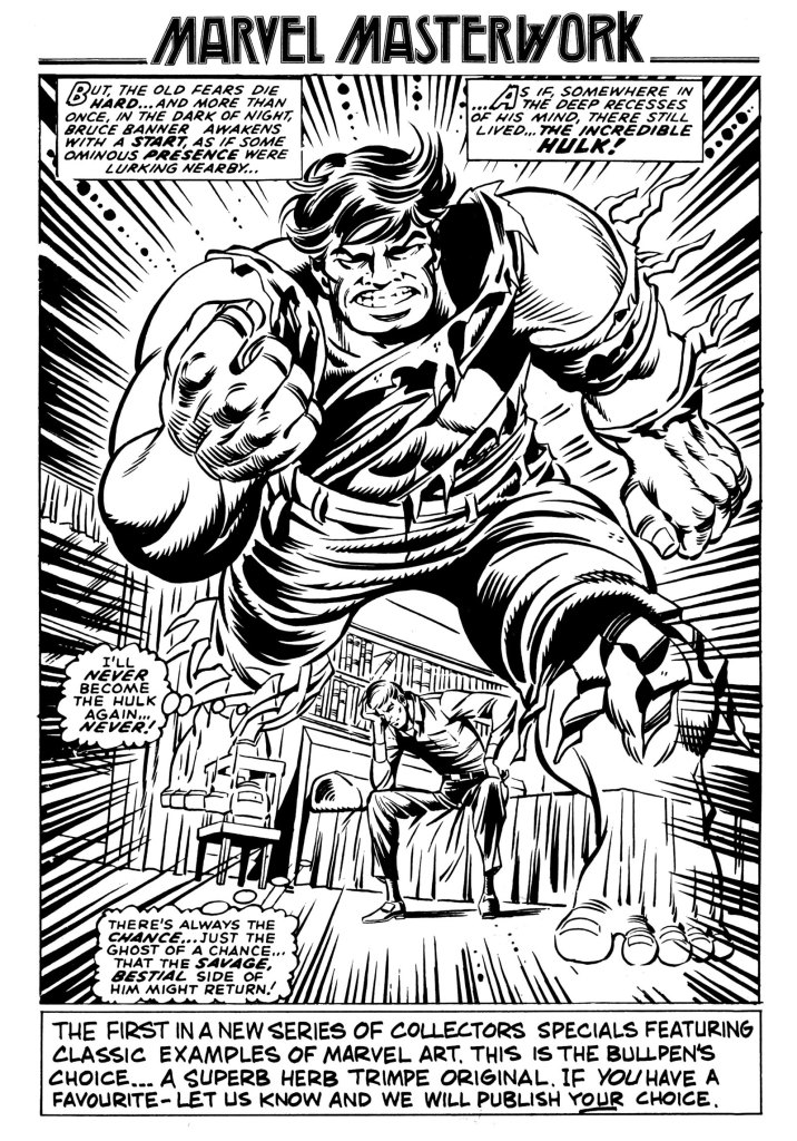 "A Herb Trimpe ""Marvel Masterwork"" pin-up, featured in Spider-Man Weekly Issue 134."