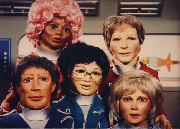 Terrahawks heroes – top row: Kate Kestrel (left), Hawkeye (right); bottom row (left to right): Ninestein, Hiro, Mary
