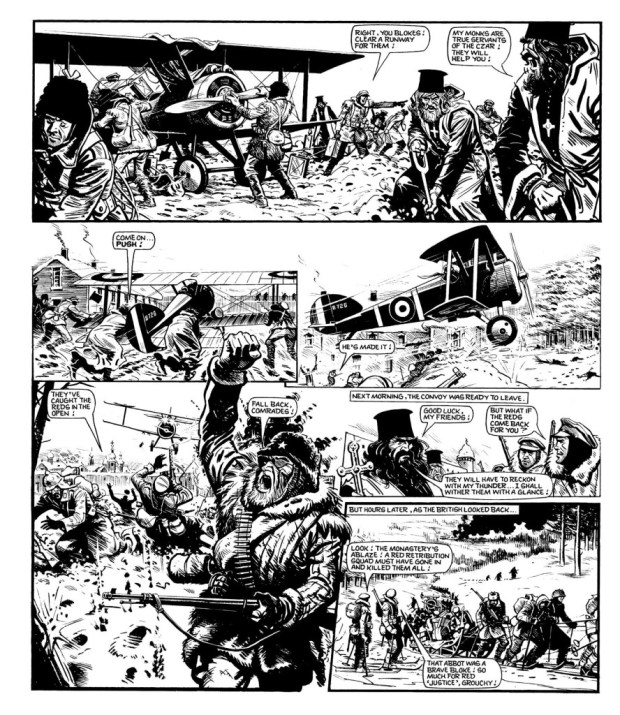 "Action in Russia in one of the final ""Charley's War"" pages to be written by Pat Mills."