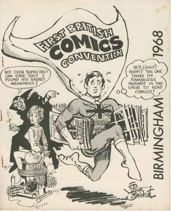 This was the planned cover for the convention booklet for the first ever British Comic Convention, but printed copies didn't arrive in the post.
