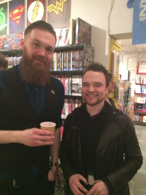 Robin Harman and artist Christian Wildgoose at Orbital Comics, London.