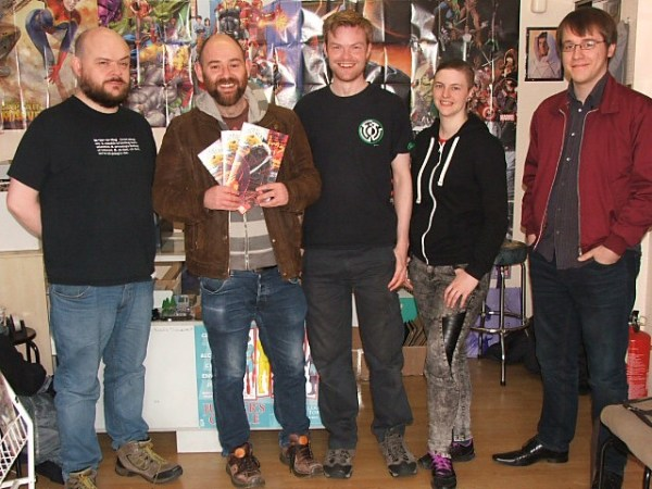 Arcadia writer Alex Paknadel (second left) with Ben Brighouse, Mark Braithwaite, Katie White and James Markwell.