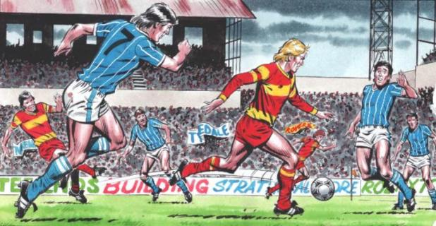 A panel of Roy of the Rovers in action by David Sque, running onto a pass from Blackie Grey! Roy of the Rovers TM & © Rebellion Publishing Ltd