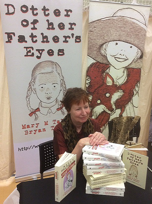 Mary Talbot with her graphic novels at Wonderlands 2015. Photo: John Swan