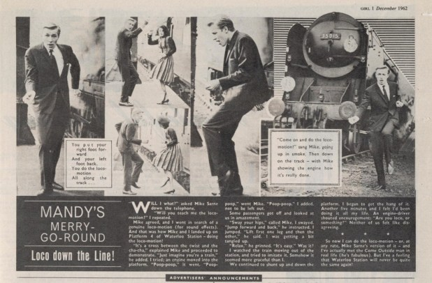 """The """"Mandy's Merry Go-Round"""" column featuring musician (now film director) Mike Sarne. Published in Girl, cover dated 1st December 1962."""