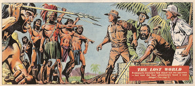 "A panel from ""The Lost World"", illustrated by Martin Aitchison, which ran from Eagle Volume 13 Number 10 – 29. Aitchison would go on to carve a name for himself as an artist on ladybird Books."