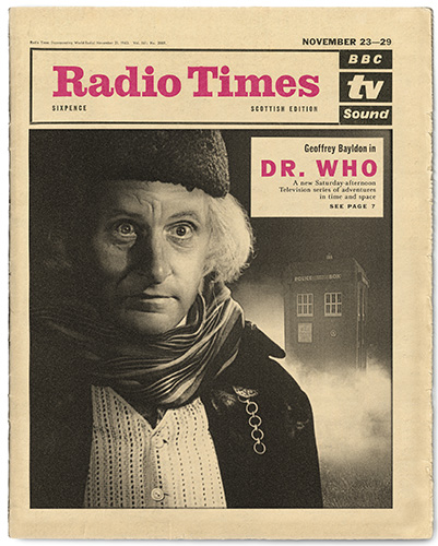 Geoffrey Bayldon stares out of a faux cover of the Radio Times.