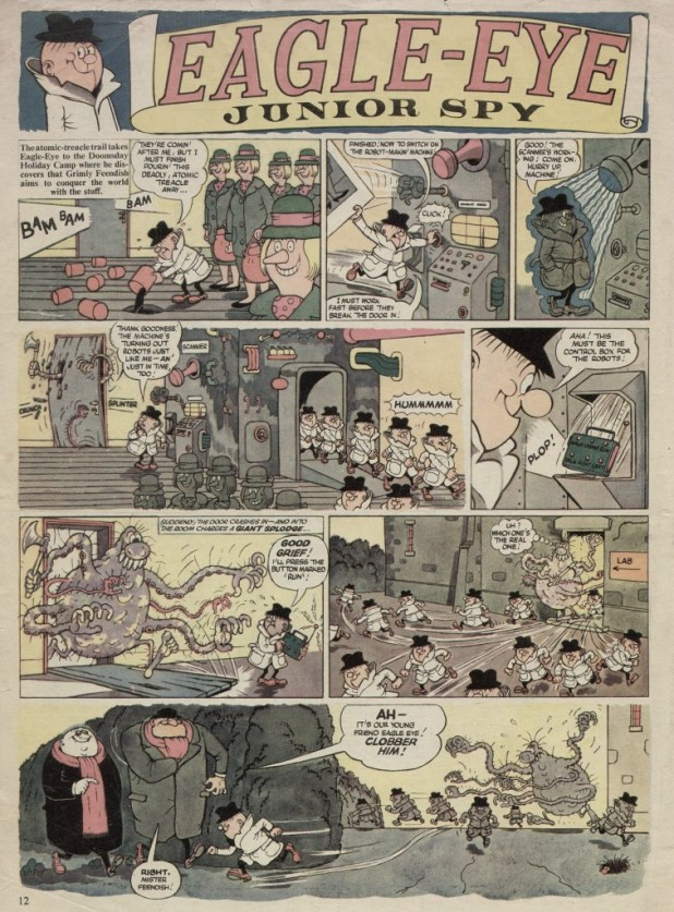 "A page of Leo Baxendale's ""Eagle Eye, Junior Spy"" published in WHAM! Number Three. Every strip was hand lettered."