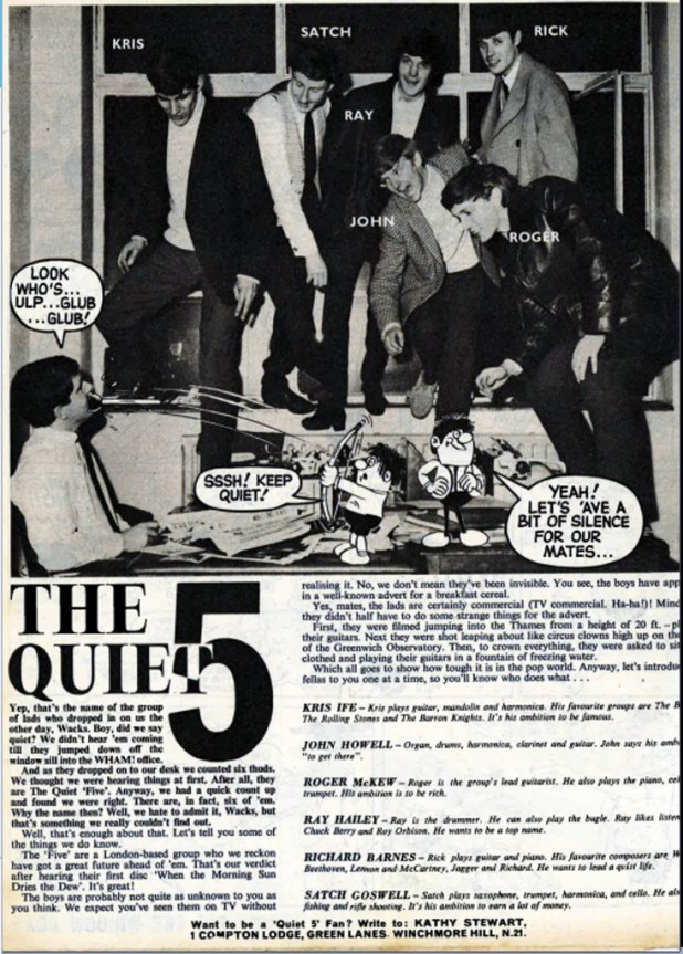 Max Clifford meets the clearly far from Quiet Five, for a feature published in WHAM! Photo by Roger Perry