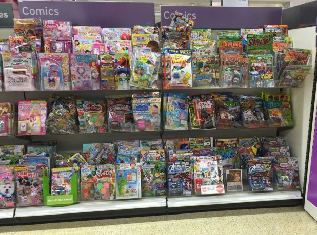 """Sainsbury's Lancaster Comic Section, August 2015. In addition to this display, comics feature in a separate """"Recommended Reading"""" section on the end of this aisle, its titles including The Beano, Skylanders and other titles."""