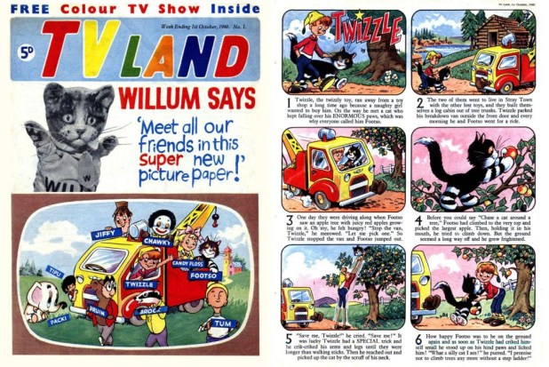 Pussy Cat Willum first appeared in comics in TV Land, published by Polystyle, a title that merged with TV Comic along with TV Express in 1962