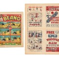 The first issue of The Beano, published in 1938, offered at auction with the original 4-page colour flyer for Beano Numbers 1 and 2. The Beano flyer has each character profiled with full page stories of Morgyn The Mighty, Rip Van Wink and Contrary Mary.