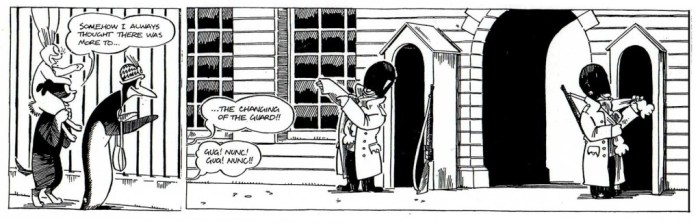 A sample Pip, Squeak and Wilfred strip by Tim Quinn and Nick Miller, pitched to the Mirror in an attempt to revive the characters in the 1990s.