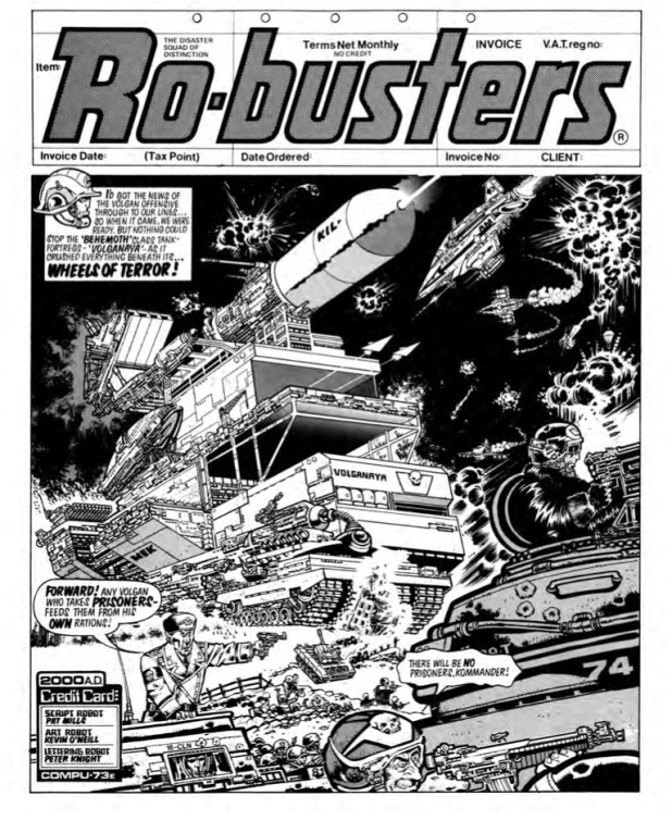 Art from Ro-Busters - The Wheels of Terror, from 2000AD Prog 90. Script by Pat Mills, art by Kevin O'Neill