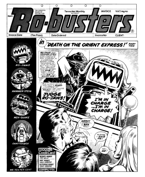 """The opening page of """"Ro-Busters: Death on the Orient Express, Part Two"""" from 2000AD Prog 87"""