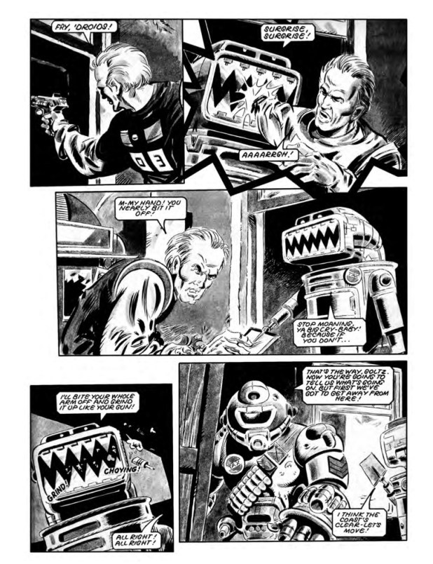 Art from Ro-Busters: The Tax Man Cometh! Part Two, from Starlord Issue 20. Script by Jack Adrian, art by Carlos Pino