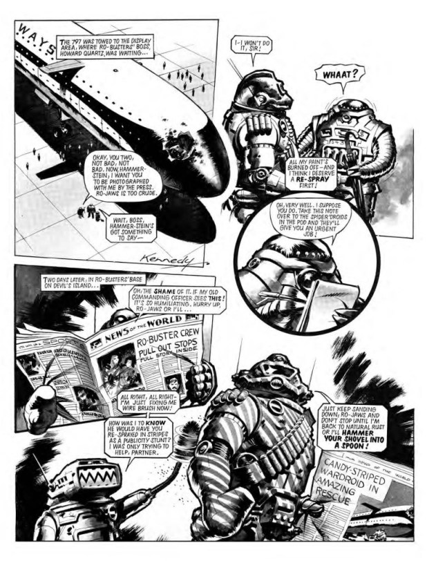 """Post-rescue silliness between Ro-Jaws and Hammerstein from the story """"Preving Mantis"""", scripted by Pat Mills, art by Ian Kennedy"""