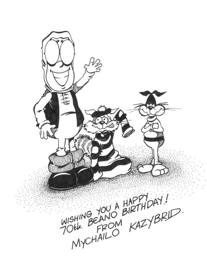 Beano Birthday Wishes from Do-Do Man and friends, drawn by Mychailo Kazybrid